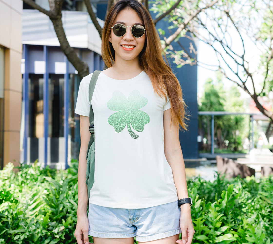 Gradient green and white swirls doodles trefoil Women's Tee preview
