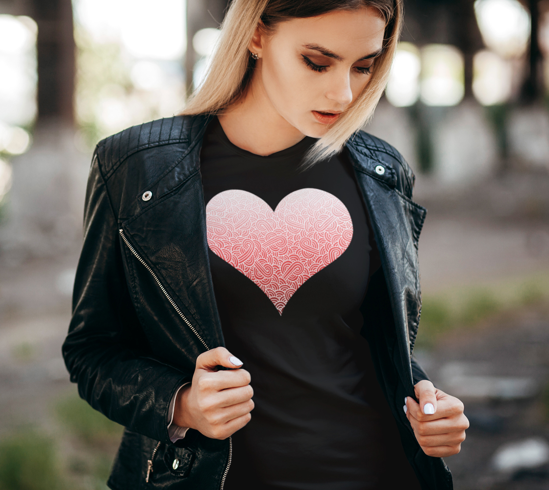 Ombré red and white swirls doodles heart Women's Tee preview #2