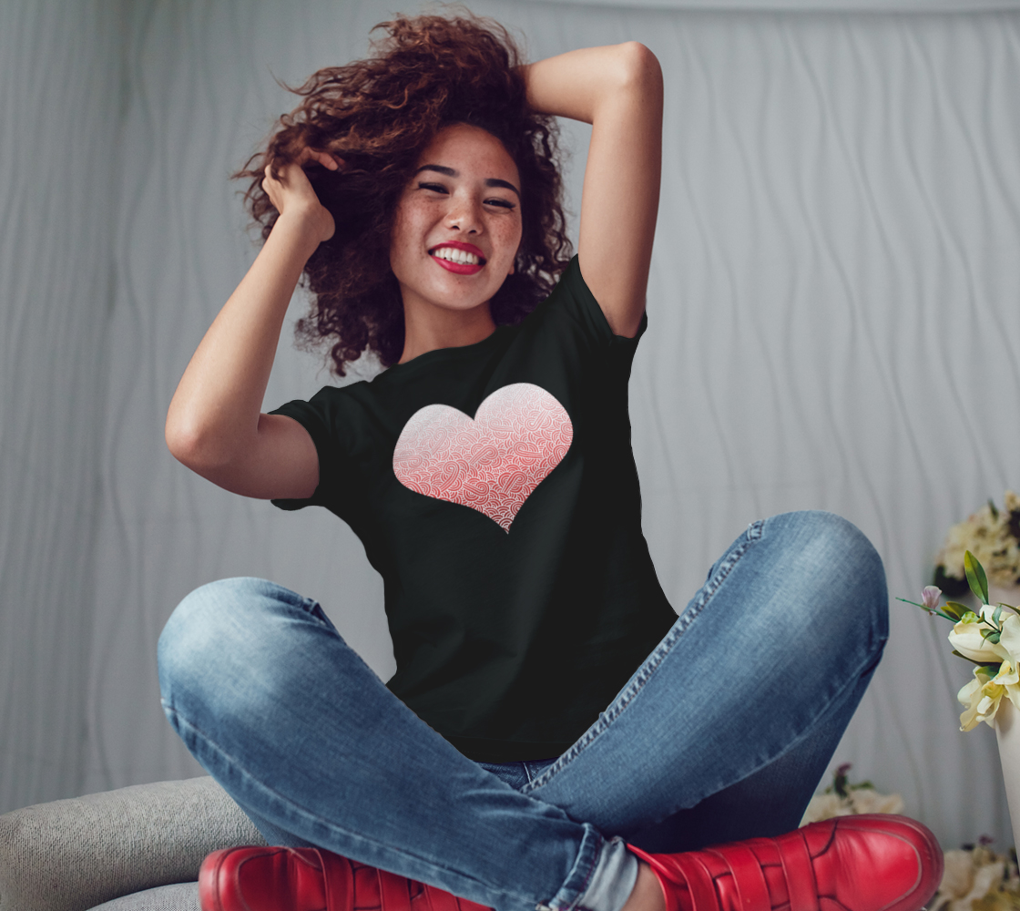 Ombré red and white swirls doodles heart Women's Tee preview #3