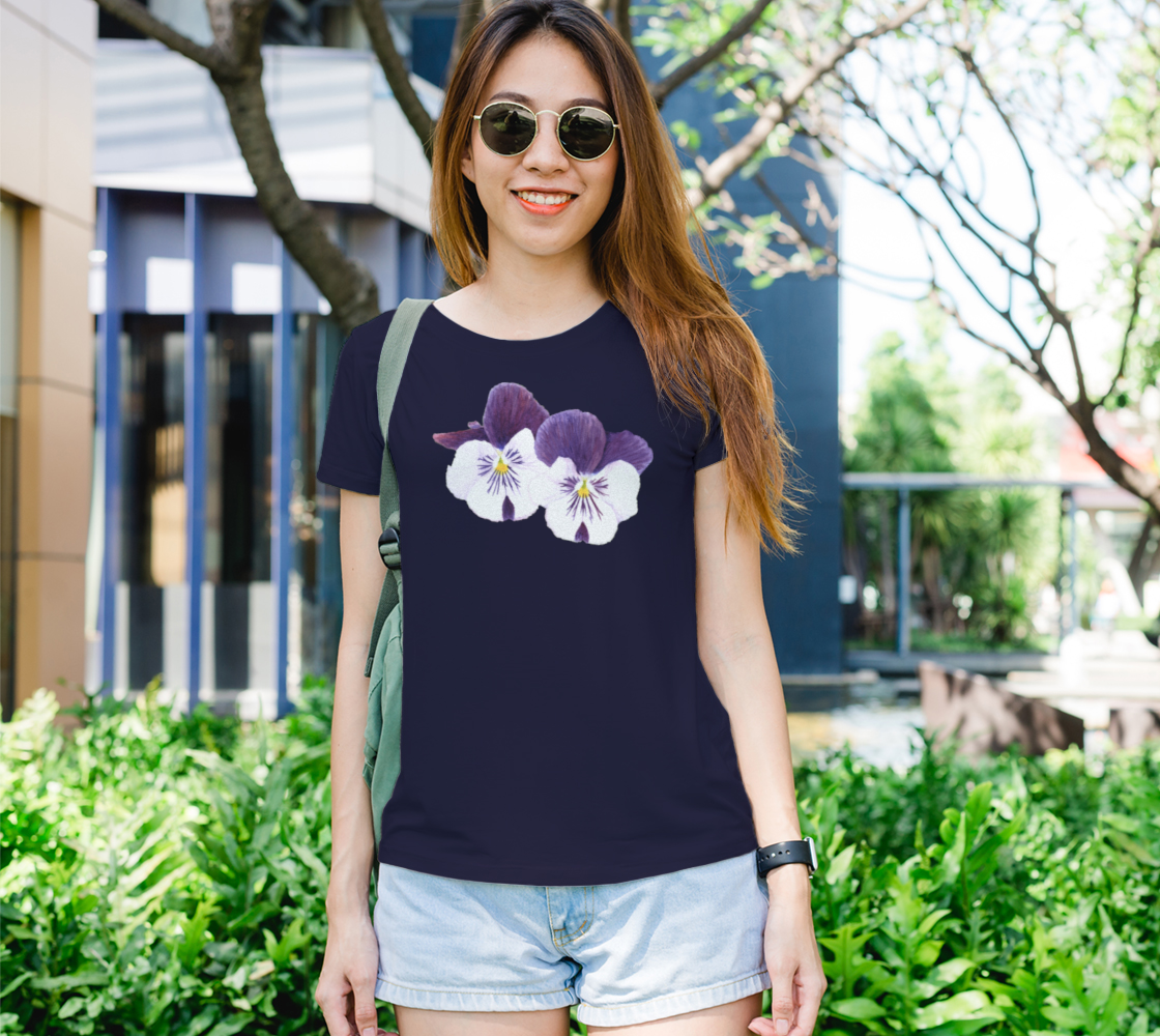 Purple and white pansies flowers Women's Tee preview