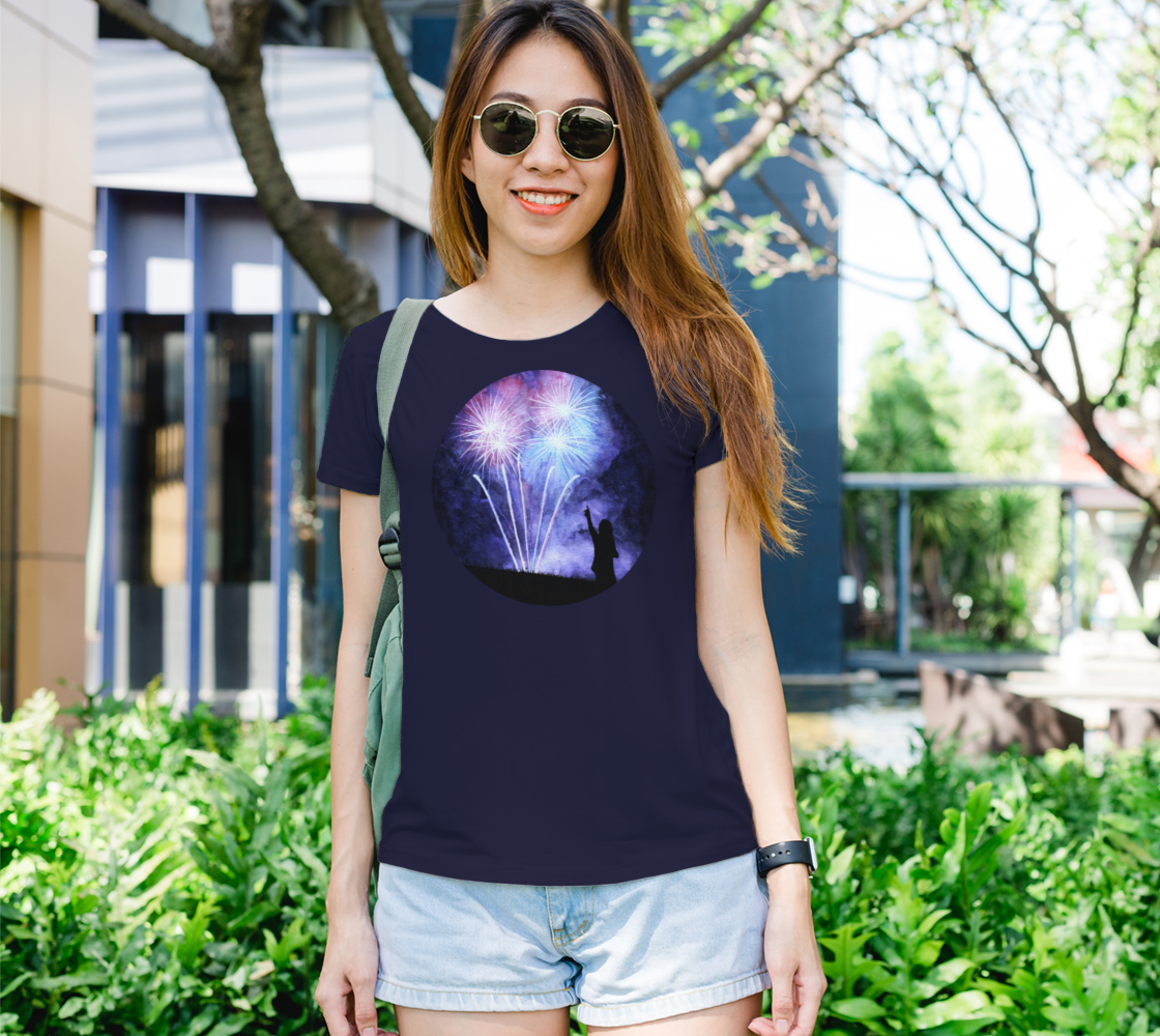 Blue and pink fireworks Women's Tee preview