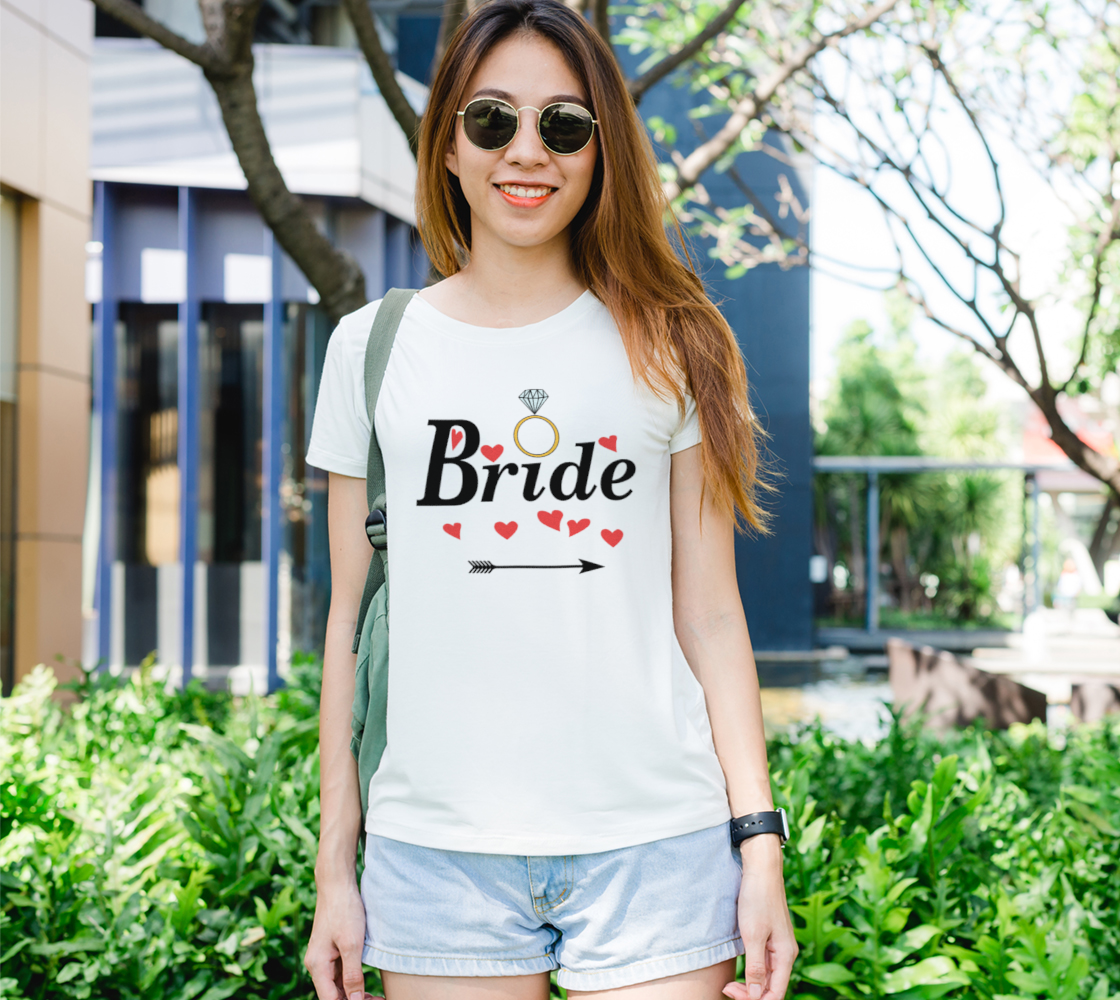 Bride with Red Hearts, Ring and Arrow, Black Font Women's T-Shirt preview