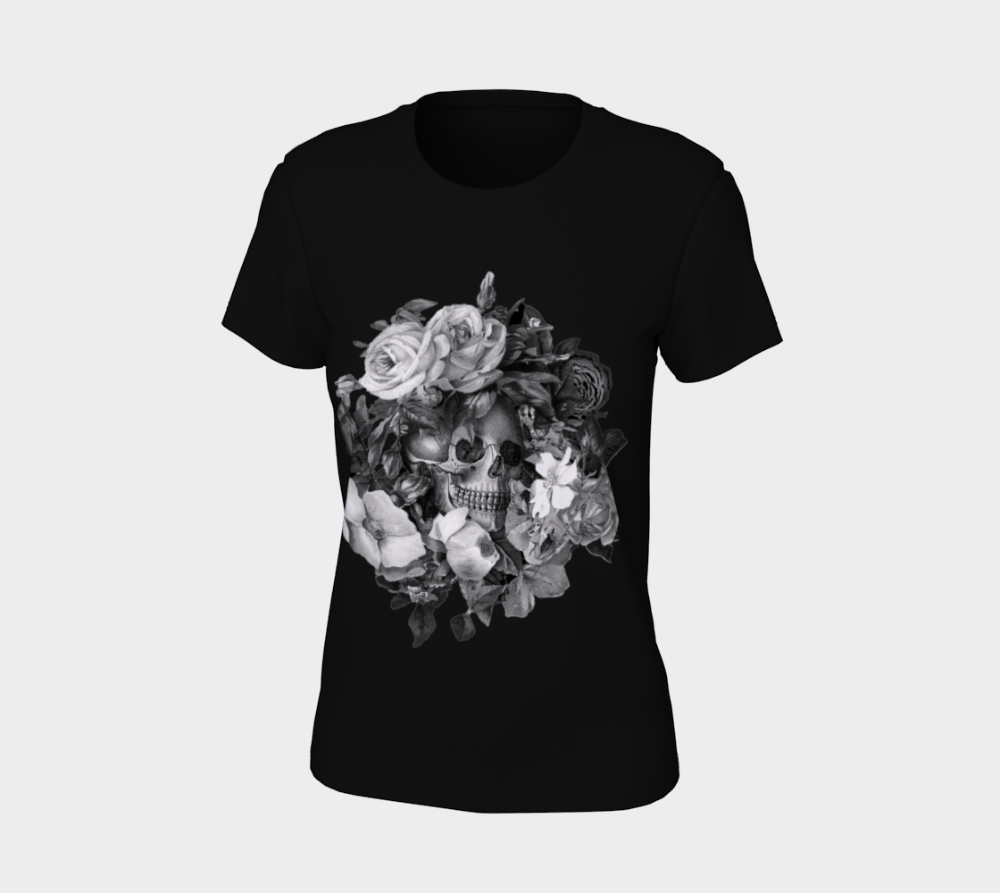 Skull Floral Memento Ladies T-Shirt preview #7