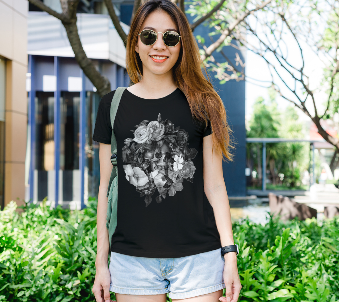 Skull Floral Memento Ladies T-Shirt preview
