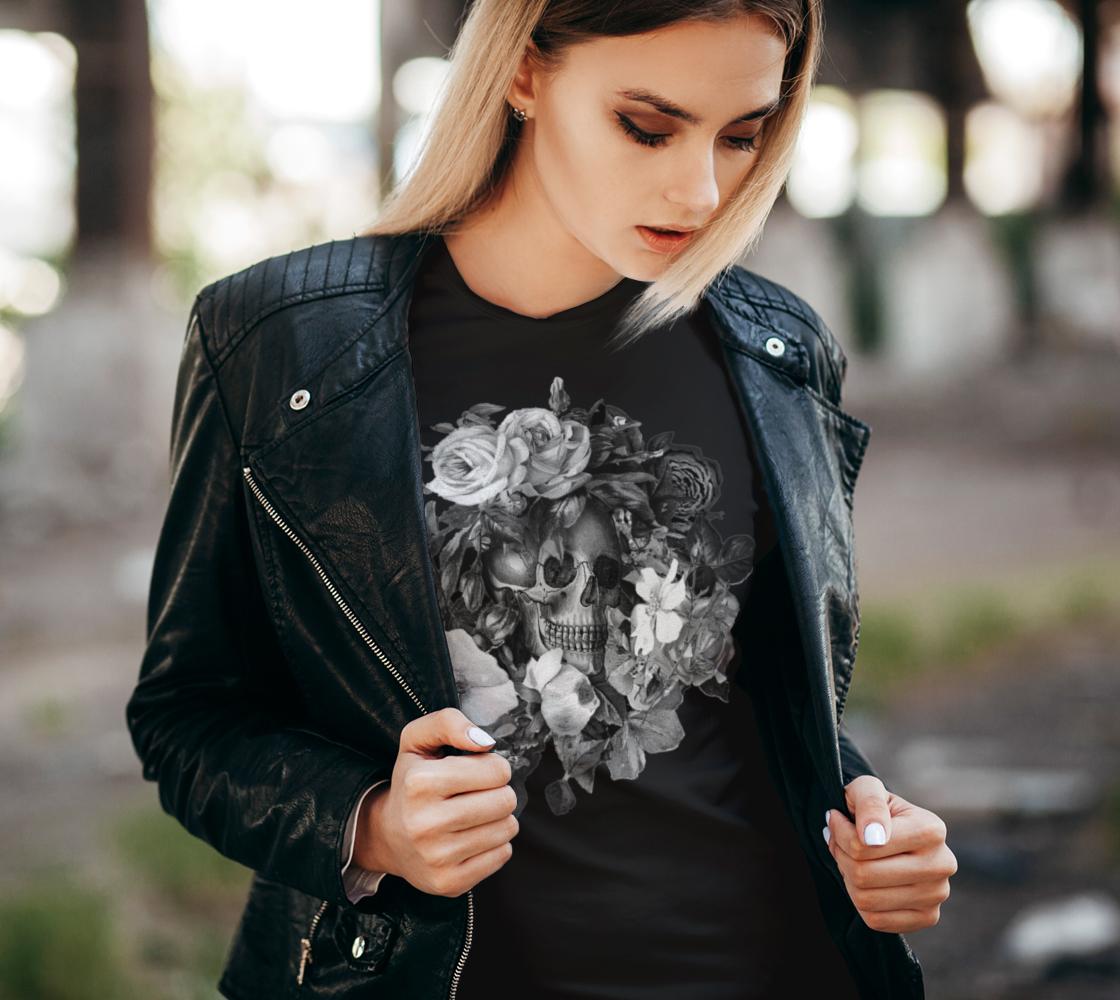 Skull Floral Memento Ladies T-Shirt preview #2