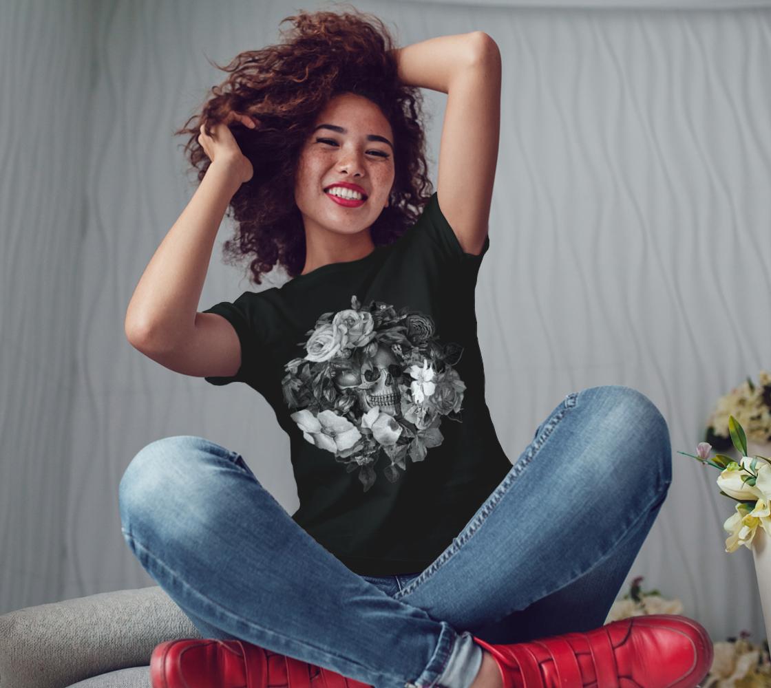 Skull Floral Memento Ladies T-Shirt preview #3