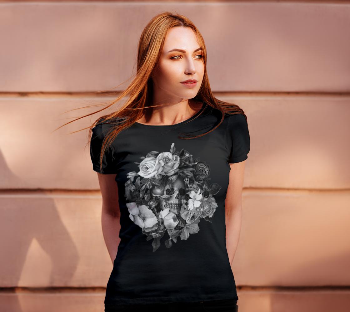 Skull Floral Memento Ladies T-Shirt preview #4