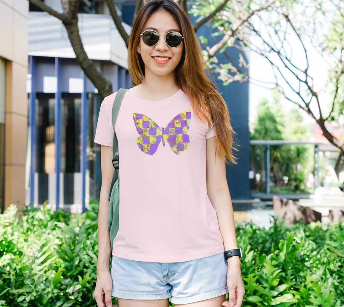 Aperçu de Butterfly in Yellow and Purple Womens Tee #1