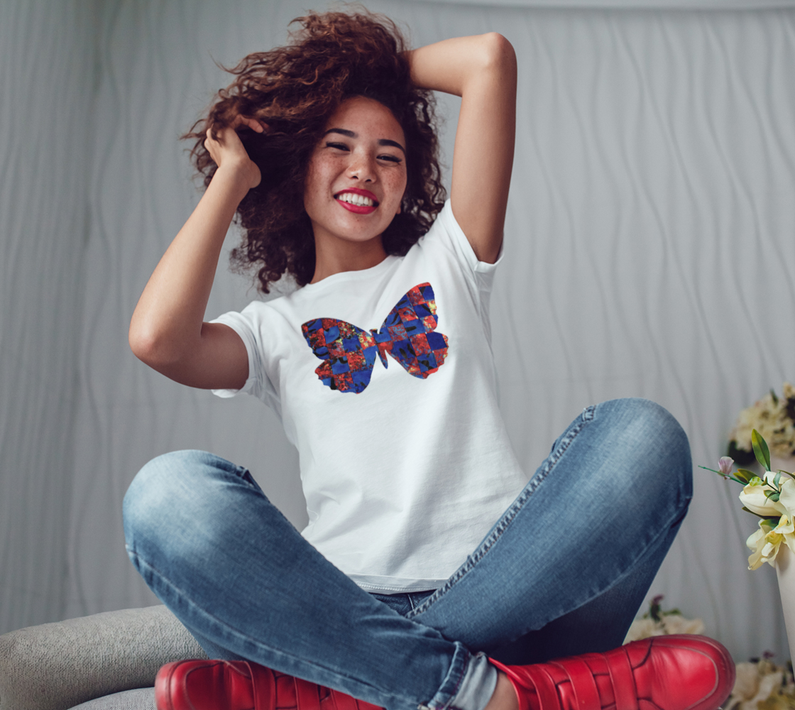 Butterfly in Red and Blue Womens Tee preview #3