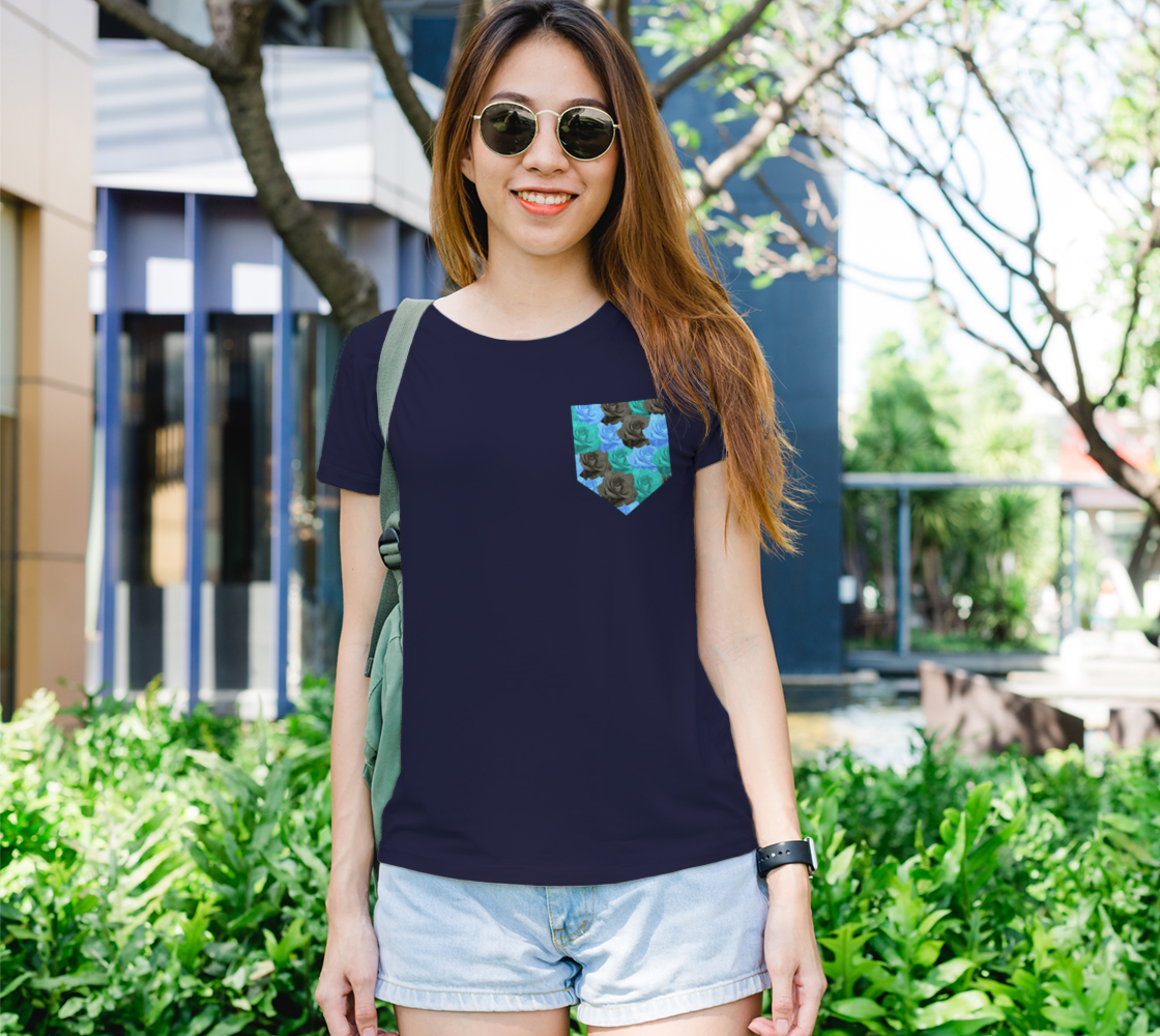 Blue Roses Pocket Women's Tee preview