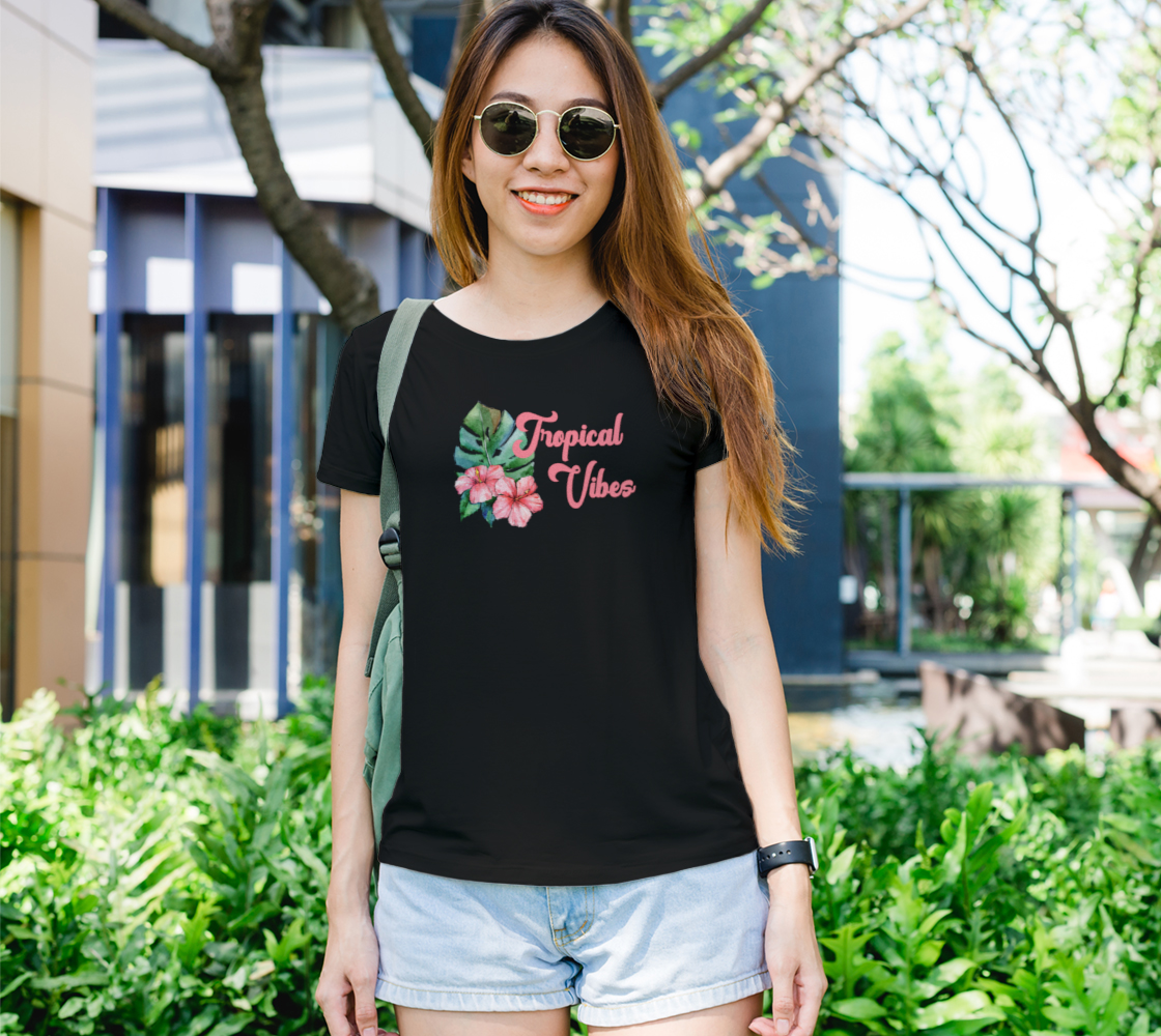 Aperçu de Tropical Vibes Floral Watercolor Tee