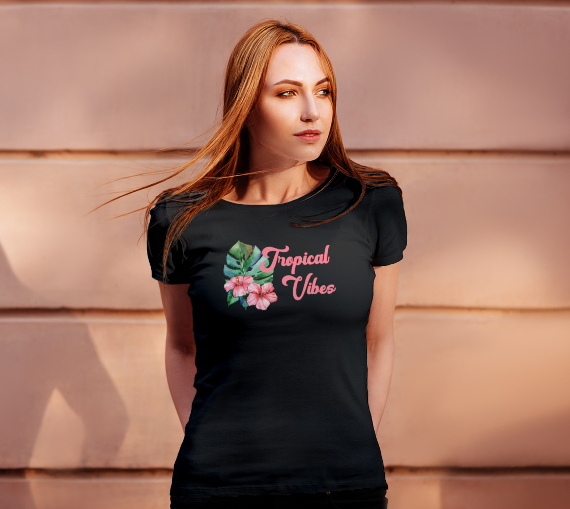 Tropical Vibes Floral Watercolor Tee preview #4