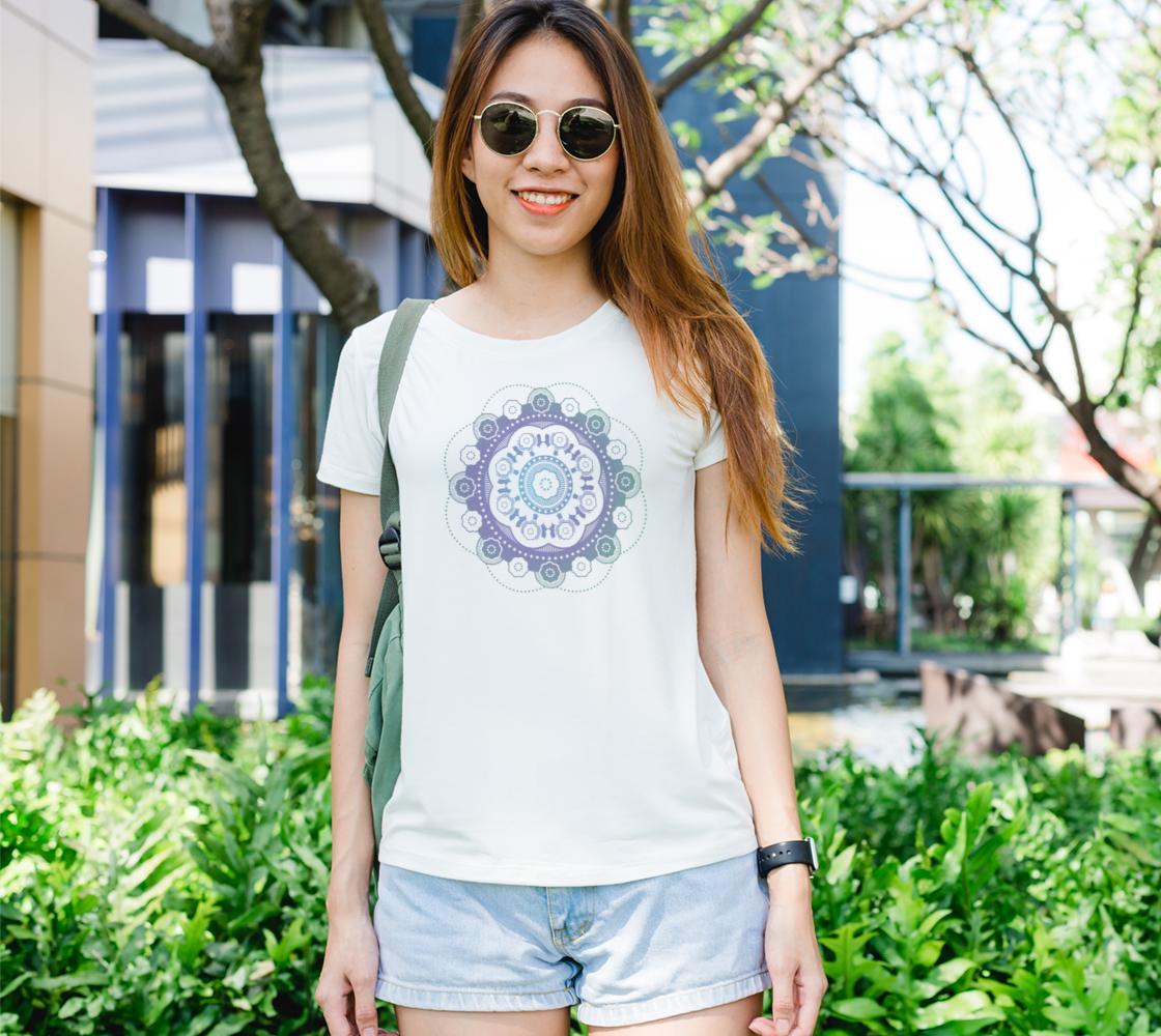 Mandala round gradient white t-shirt preview