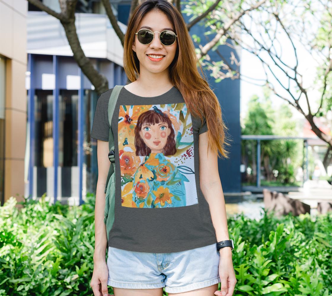 Aperçu de T-shirt femme fille à l'oiseau bleu