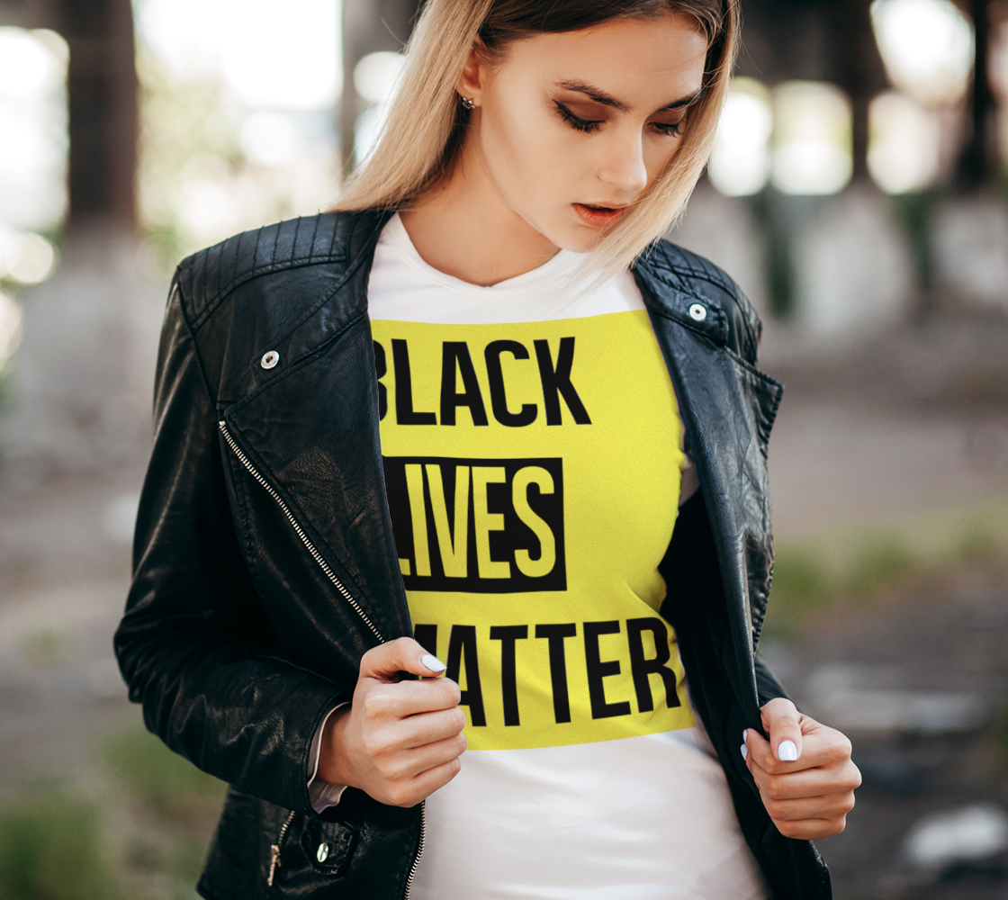 Black Lives Matter Bold Quote Yellow Background Women's Tee, AOWSGD thumbnail #3
