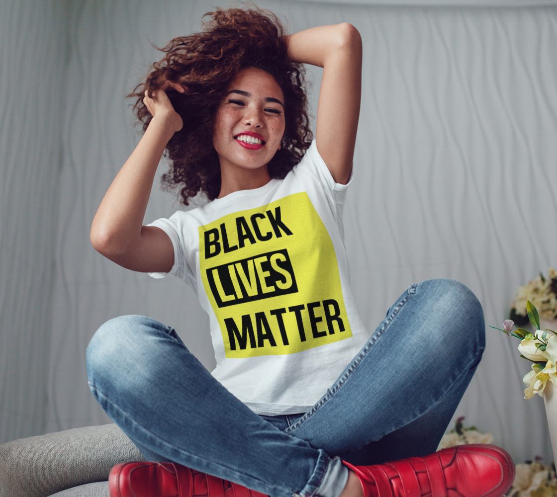 Black Lives Matter Bold Quote Yellow Background Women's Tee, AOWSGD thumbnail #4