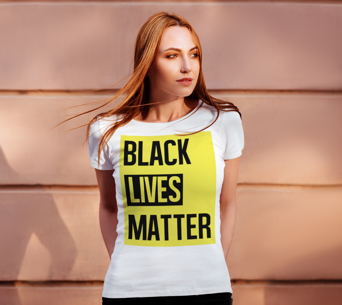 Black Lives Matter Bold Quote Yellow Background Women's Tee, AOWSGD preview #4