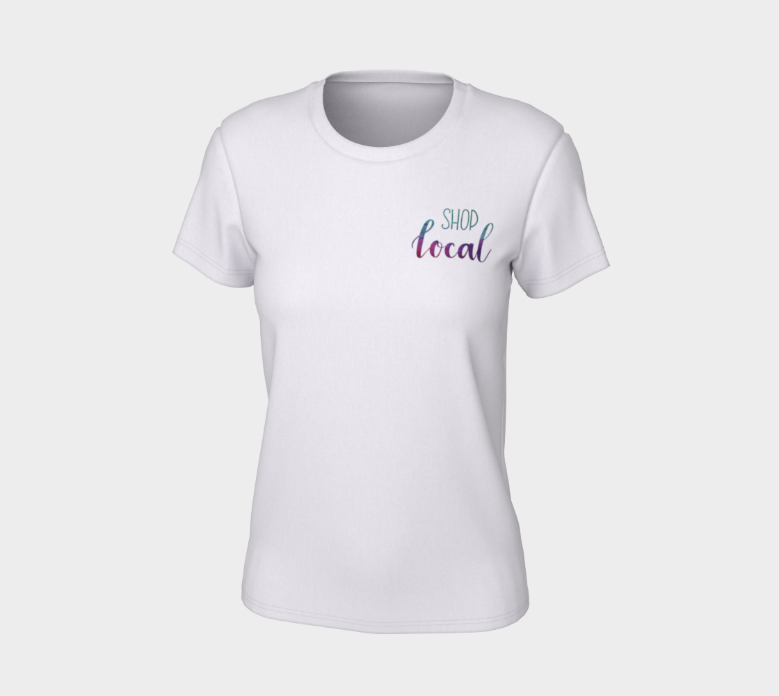 Shop Local - white tee, multicolour lettering  preview #7