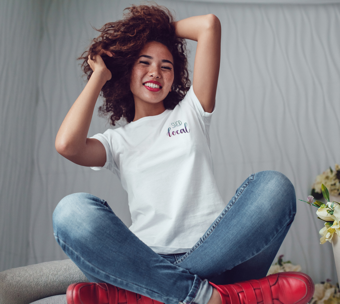 Shop Local - white tee, multicolour lettering  preview #3