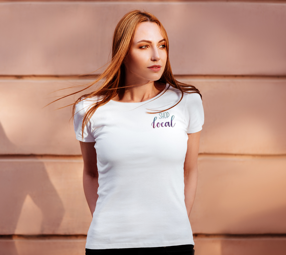 Shop Local - white tee, multicolour lettering  preview #4