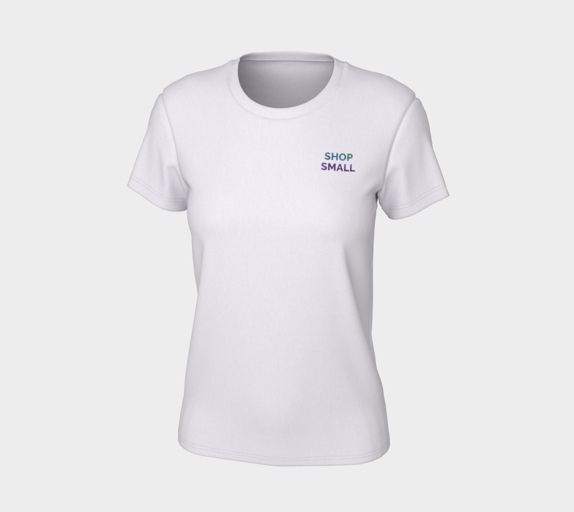 Shop Small - white tee, multicolour text  preview #7