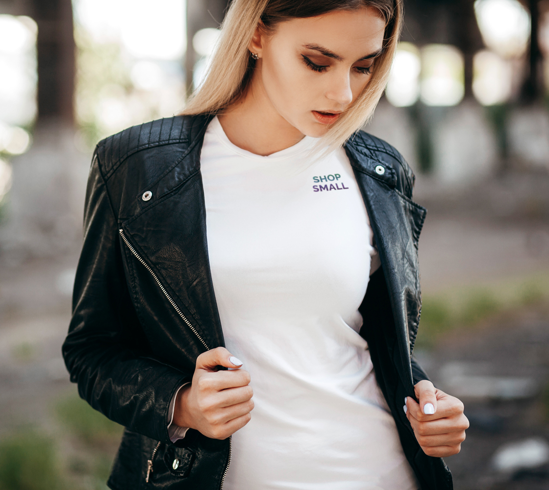 Shop Small - white tee, multicolour text  preview #2