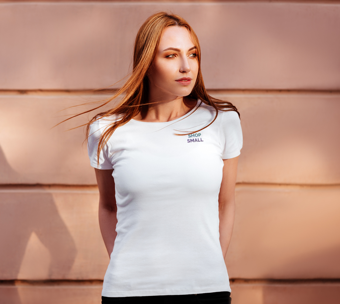 Shop Small - white tee, multicolour text  preview #4