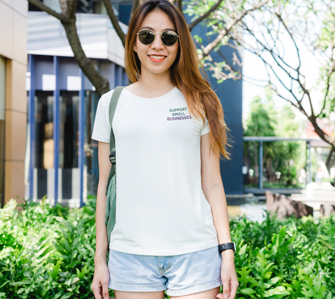 Support Small Businesses - white tee, multicolour text preview