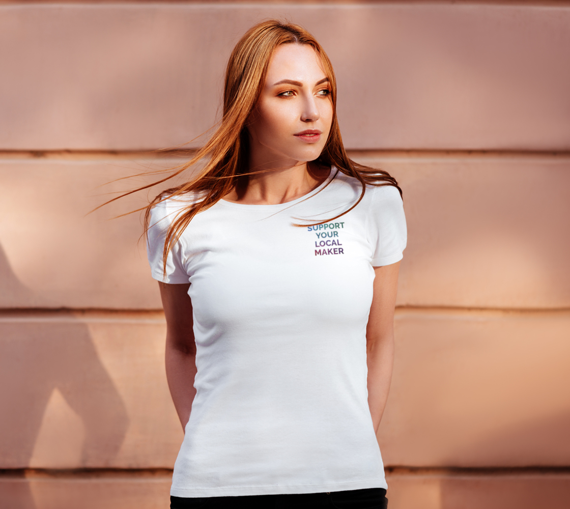 Support Your Local Maker - white tee, multicolour text preview #4