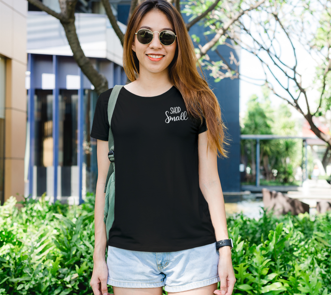 Shop Small - dark tee, white lettering preview