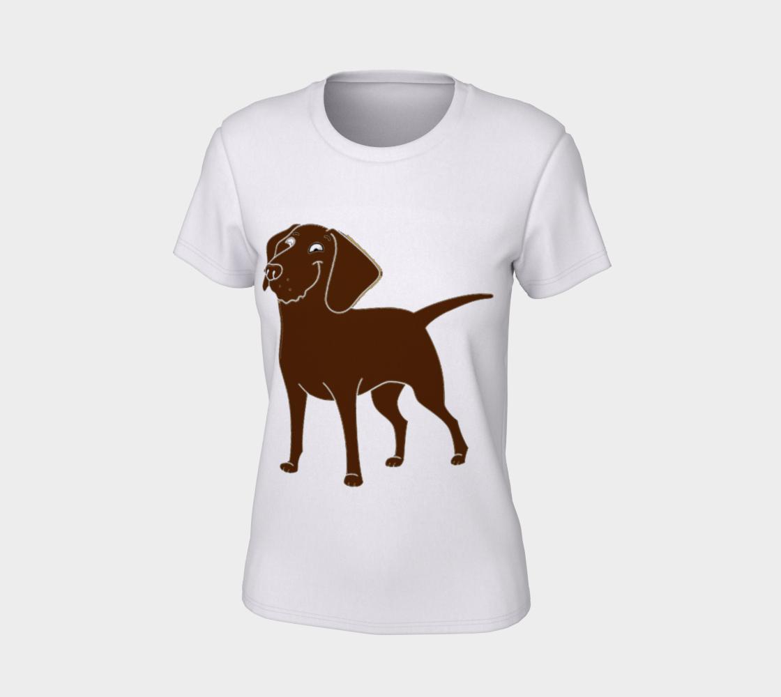 Labrador Retriever chocolate cartoon women's tee preview #7
