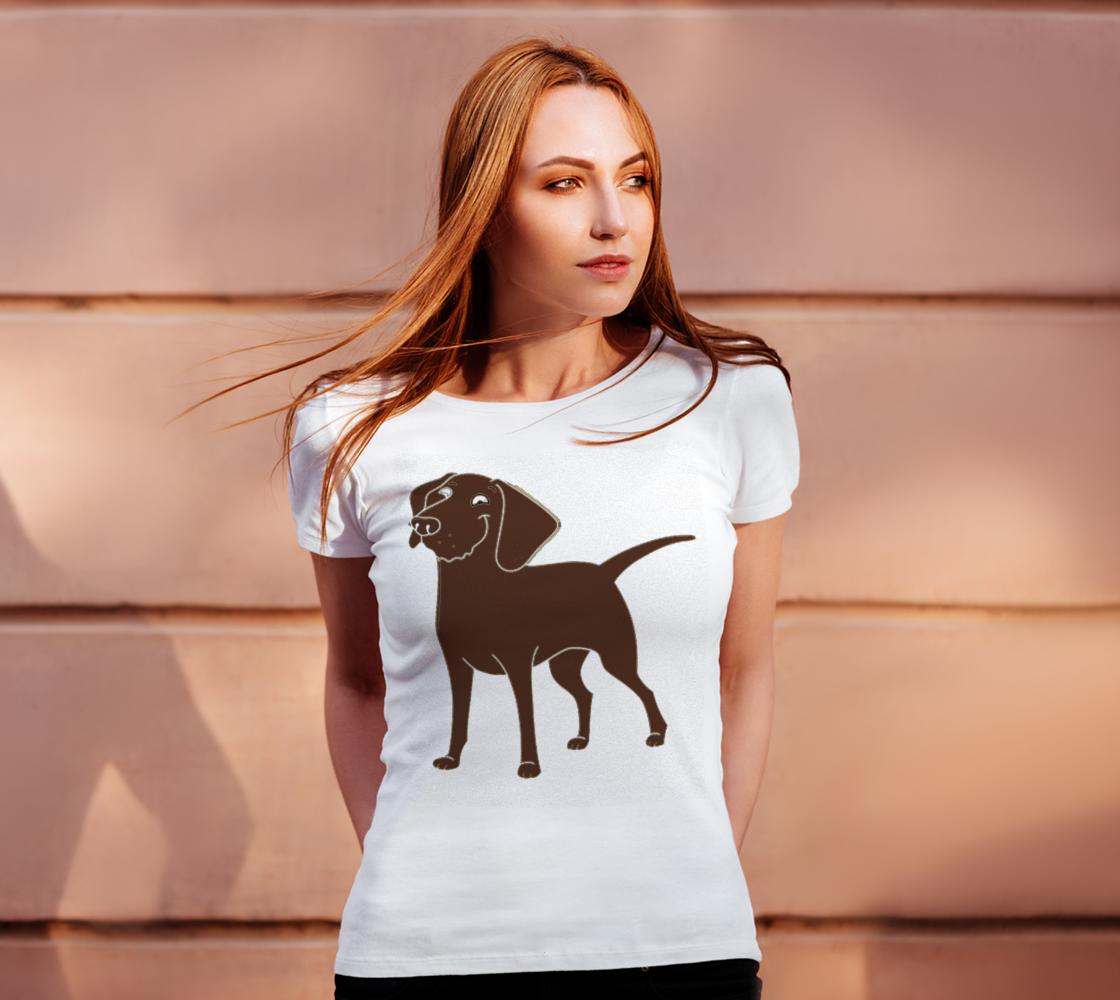 Labrador Retriever chocolate cartoon women's tee preview #4