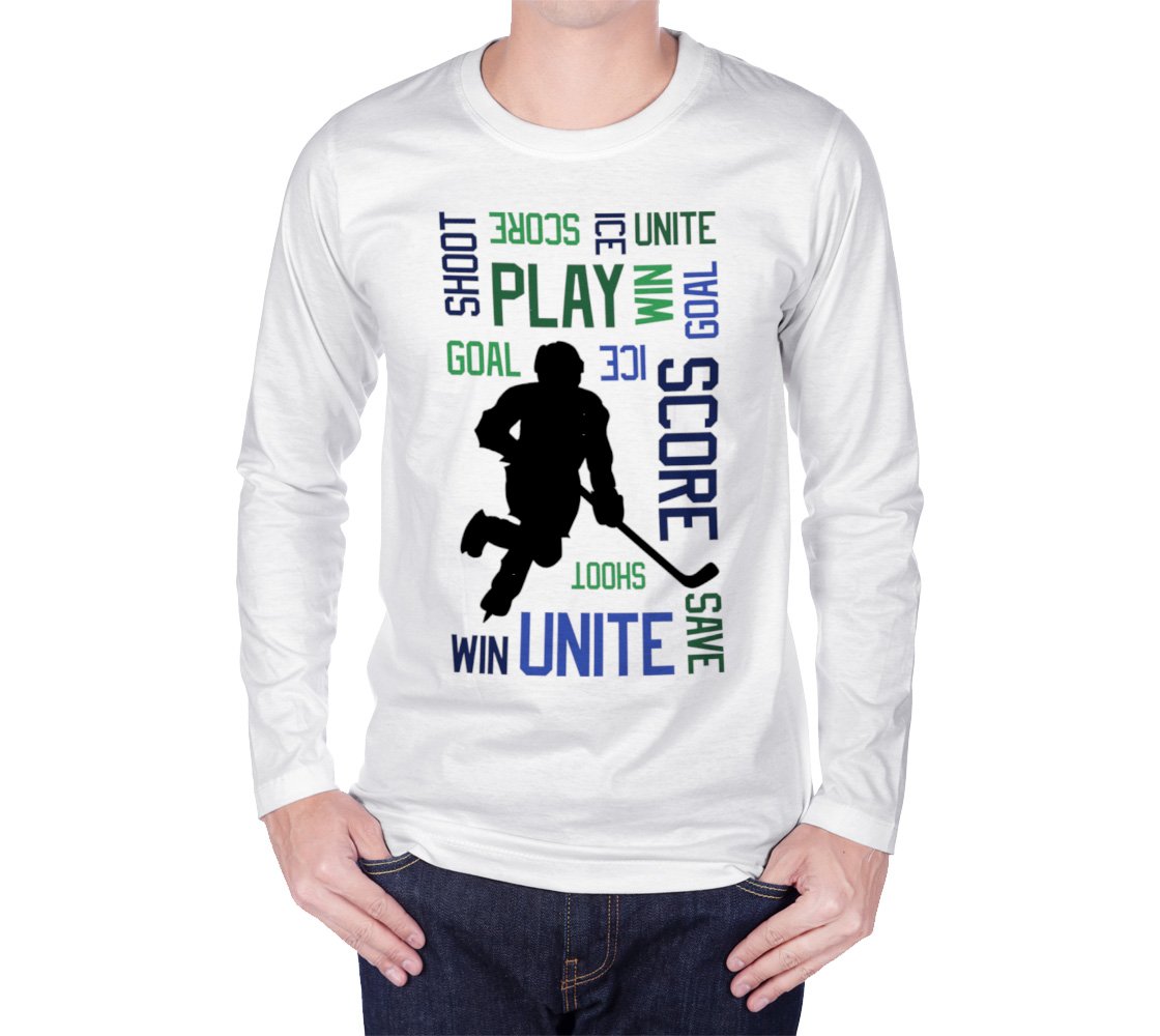 For the Love of Hockey Long Sleeve T-shirt - Blue and Green preview