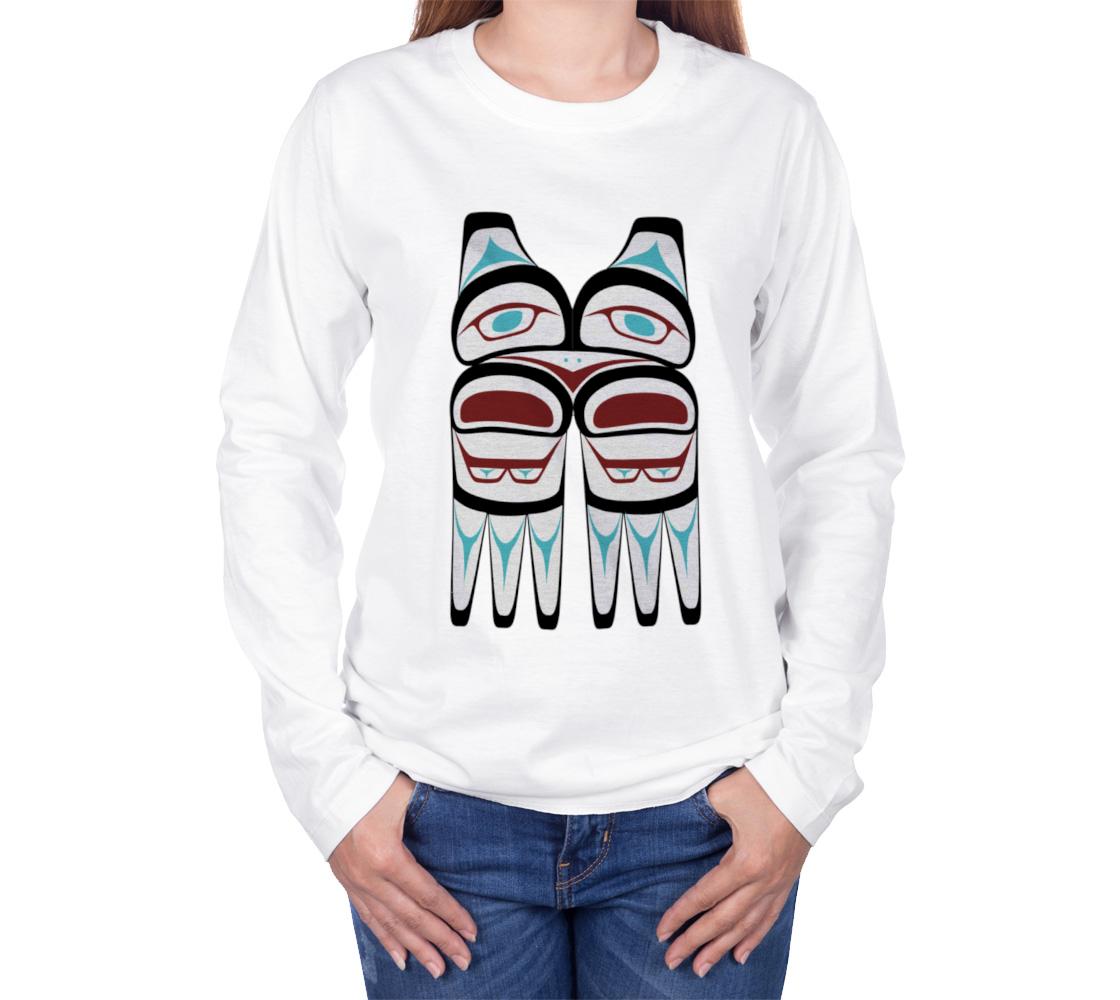 Tlingit Northwest Totem Art on White Long Sleeve T-Shirt preview #3