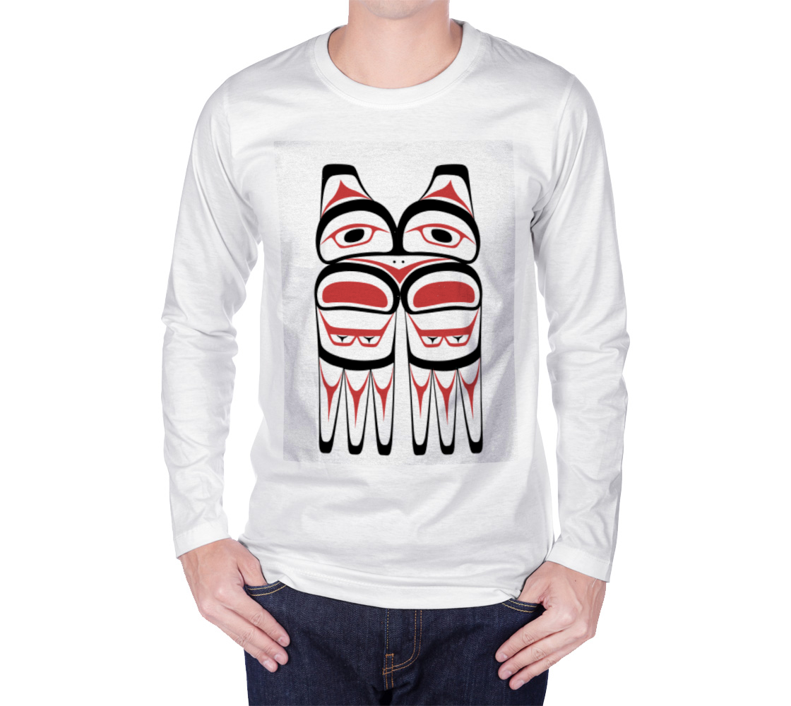 Tlingit Northwest Totem Art Traditional Colors on White Long Sleeve T-Shirt preview #1