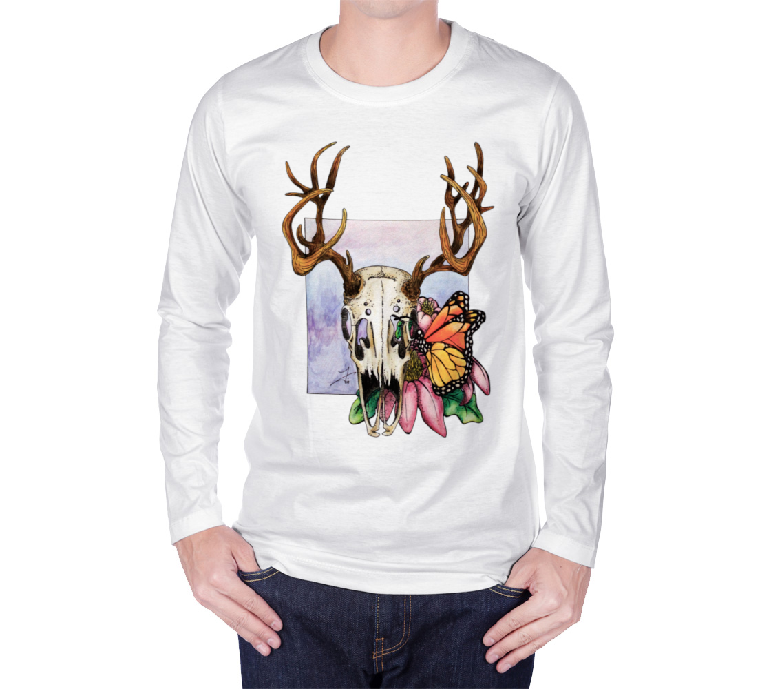 Deer Skull and Butterfly Long Sleeve Tee preview