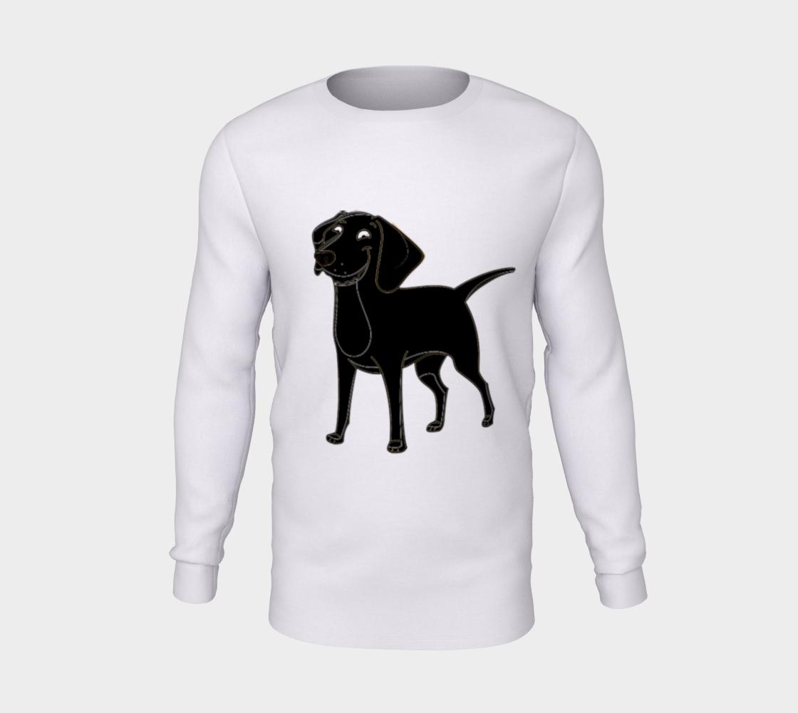 Labrador Retriever black cartoon long sleeve t-shirt preview #5