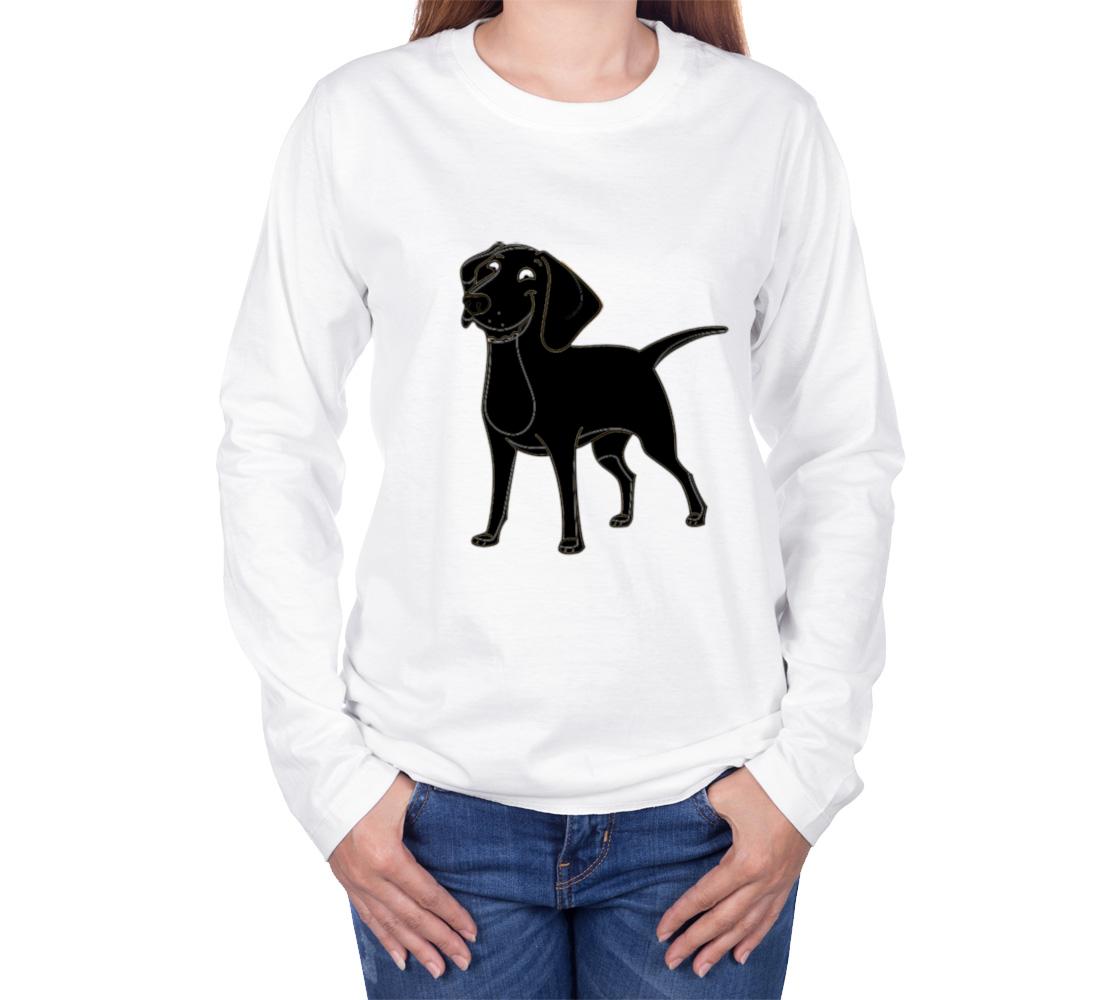 Labrador Retriever black cartoon long sleeve t-shirt preview #3
