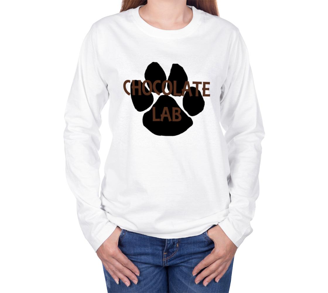 Labrador Retriever chocolate name paw long sleeve t-shirt preview #3