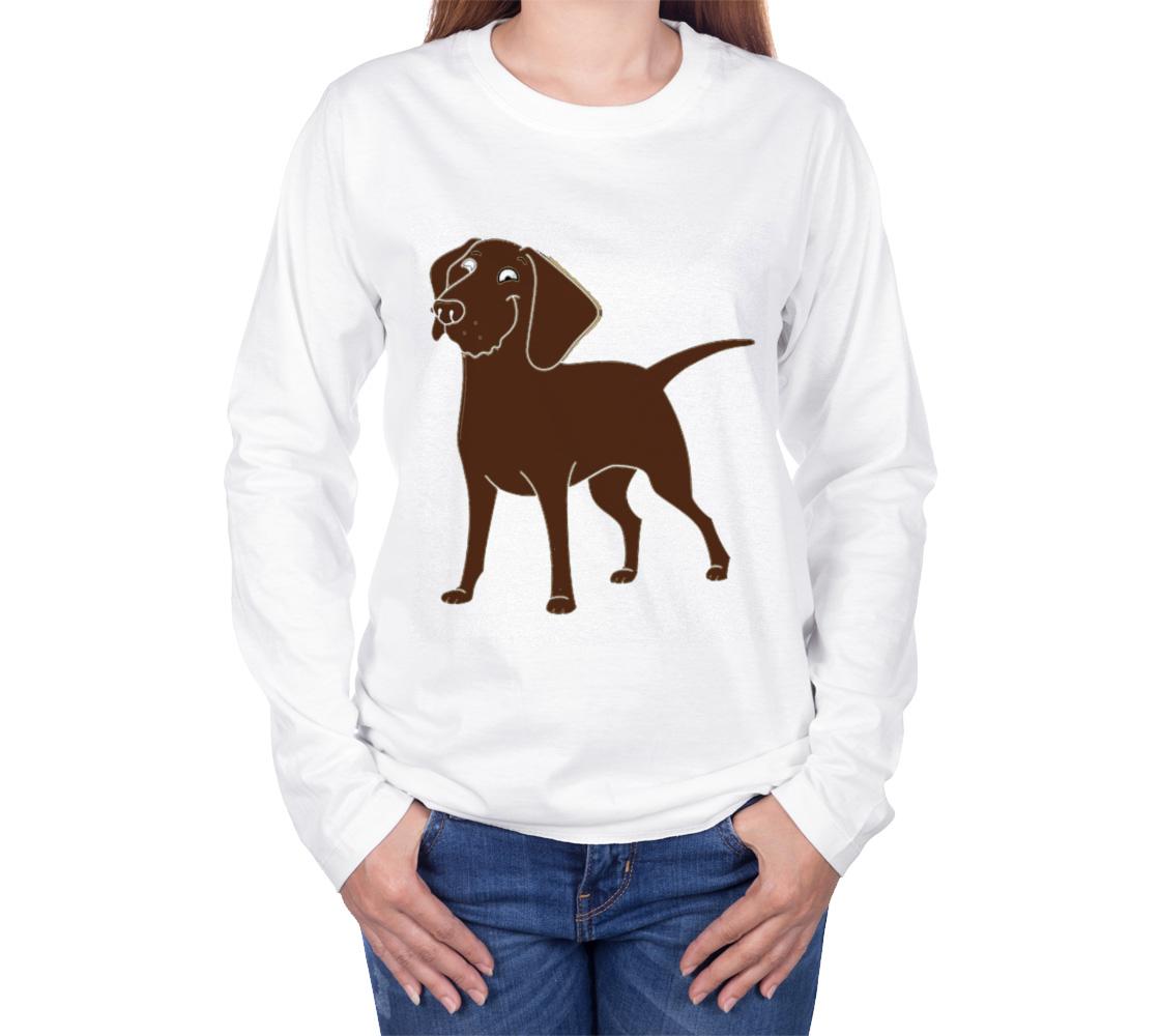 Labrador Retriever chocolate cartoon long sleeve t-shirt preview #3