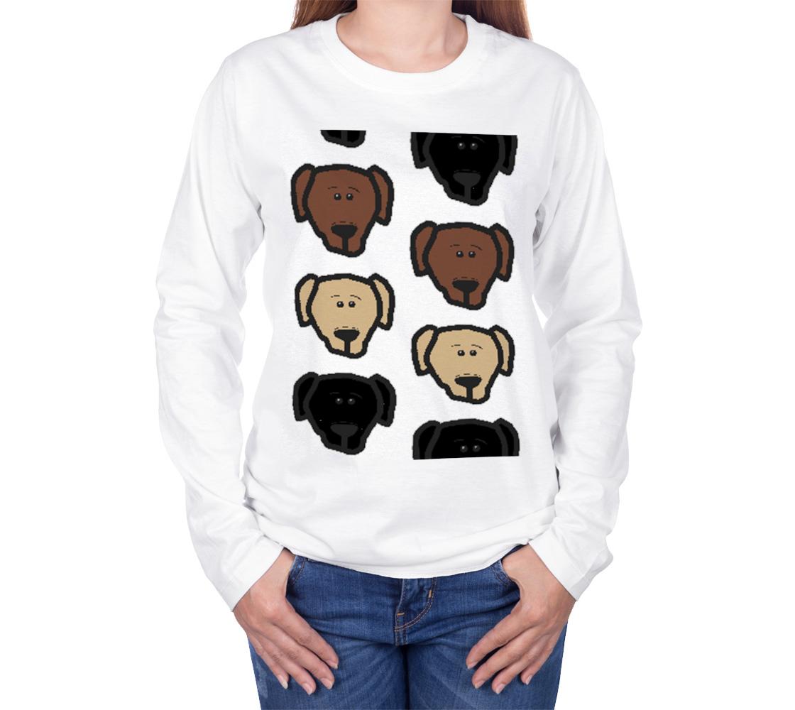 Labrador Retriever all 3 colors cartoon heads long sleeve t-sirt preview #3