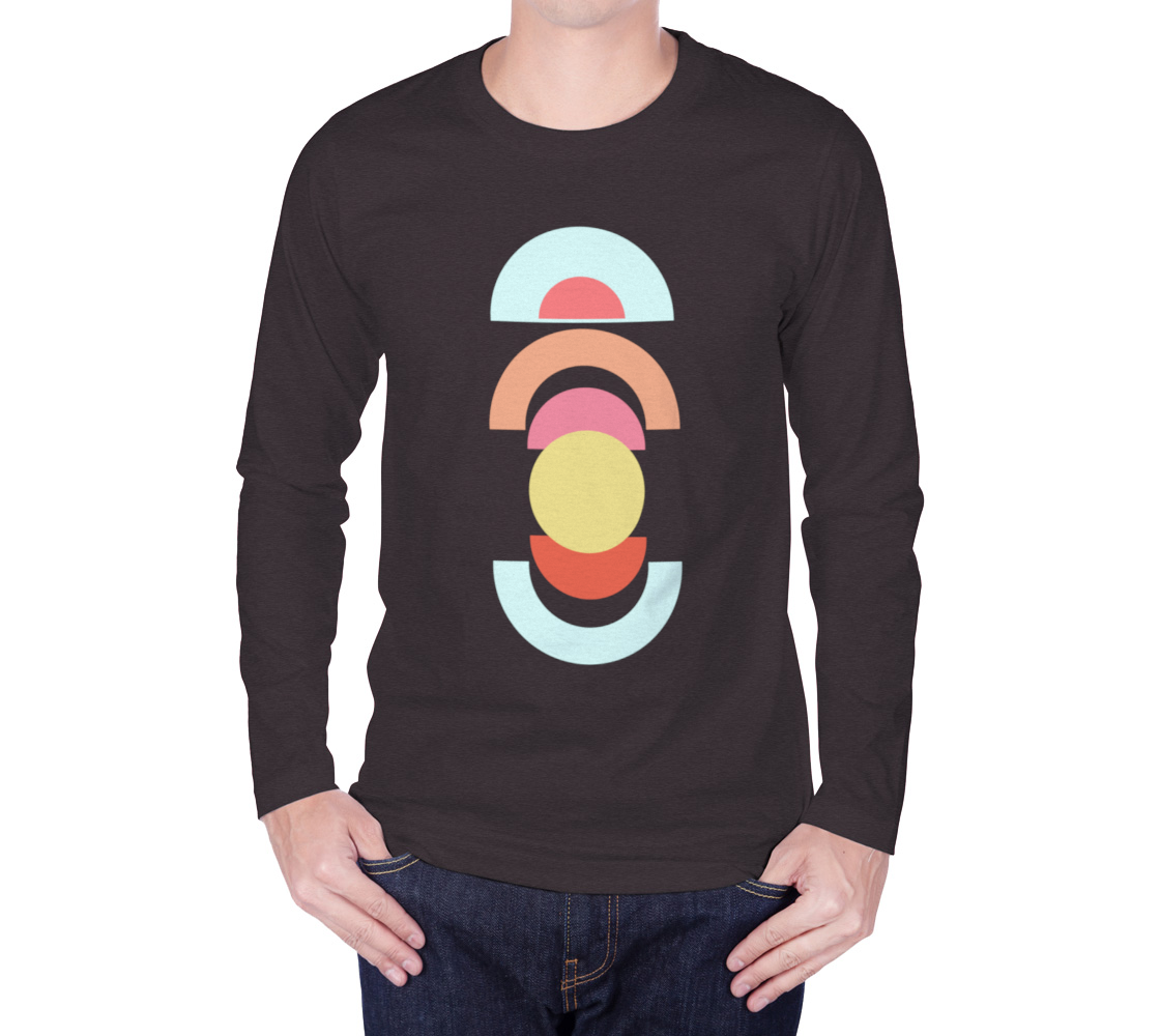 Mid Century Shapes long sleeve tee Charcoal preview