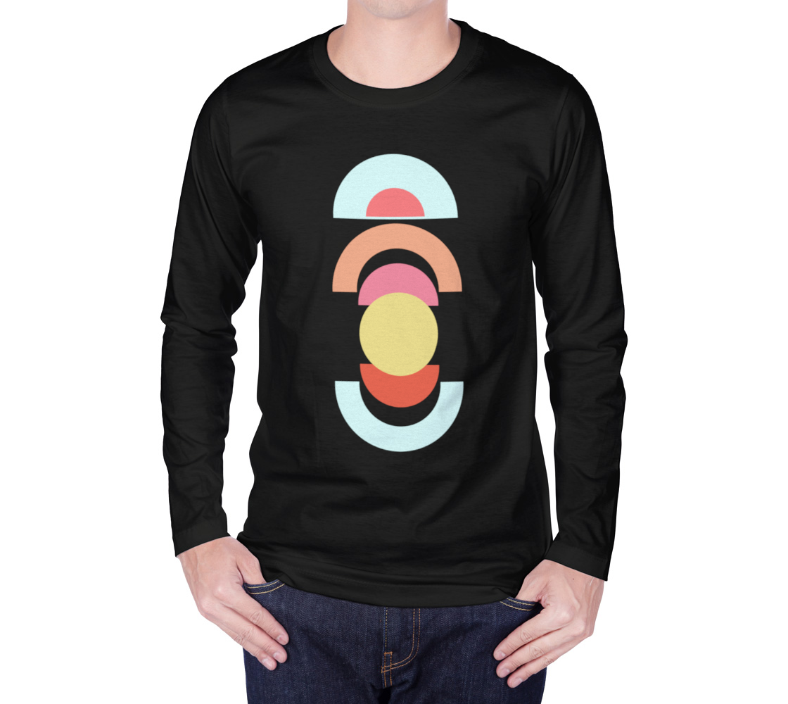 Mid Century Shapes long sleeve tee Black preview