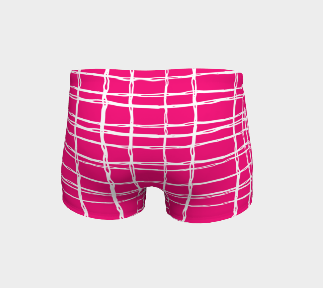 Pink and White Geometric Line Pattern Shorts preview #4