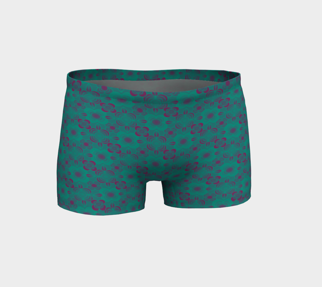 Flower power teal shorts preview