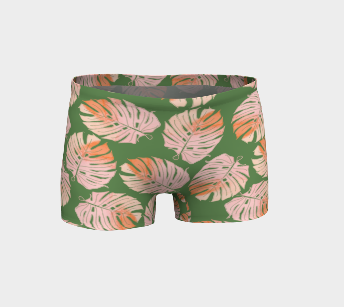 Aperçu de Tropical Leafs in Green and Coral Shorts