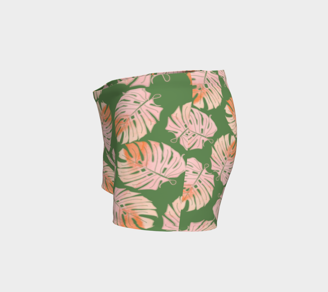 Tropical Leafs in Green and Coral Shorts preview #2