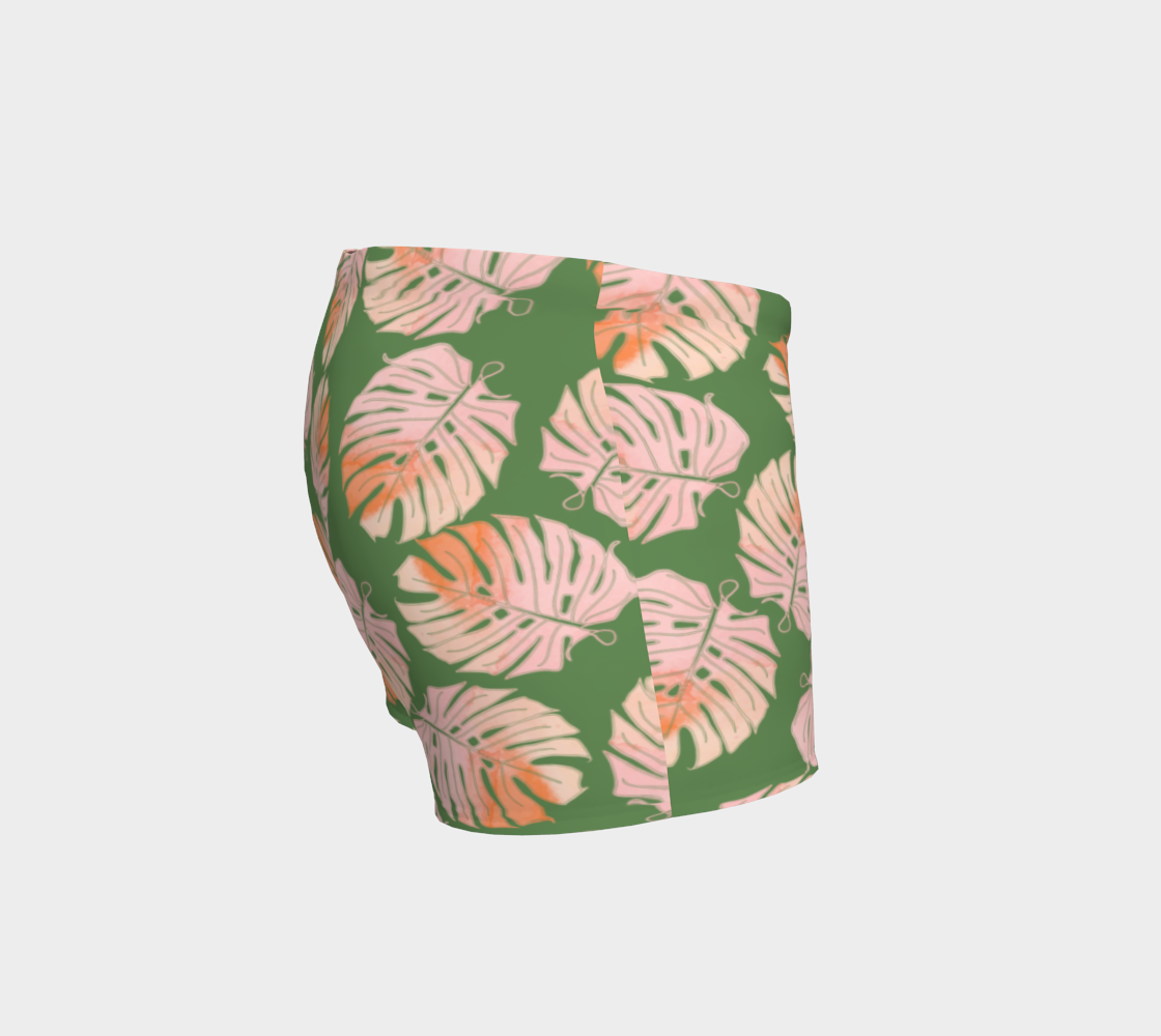 Tropical Leafs in Green and Coral Shorts preview #3