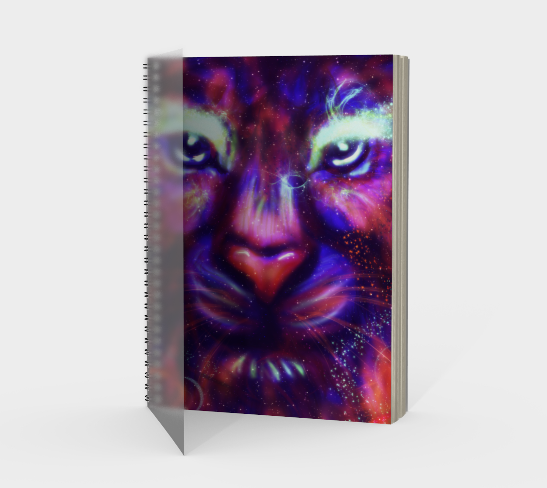 Fantasy lion face made of stars and colorful clouds preview