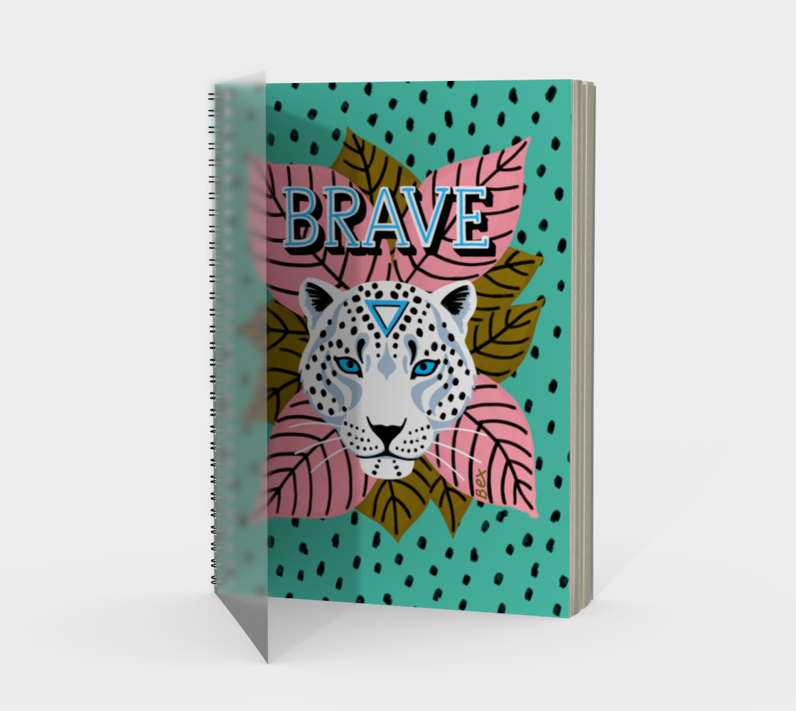 BRAVE snow leopard spiral notebook  preview